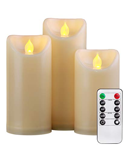 "Homemory 5""6""7"" Waterproof Outdoor Flameless Candles with Timer and Remote Control, Battery Operated LED Candles, Realistic Fake Candles, Amber Yellow Light, for Weddings, Festivals Decorations"