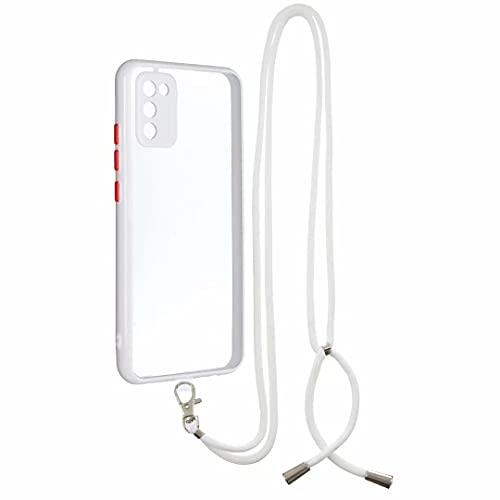 Funda cruzada para iPhone 12 Mini, correa de teléfono con cordón ajustable cuerda desmontable, silicona suave transparente transparente con cordón para el cuello para iPhone 12 Mini blanco