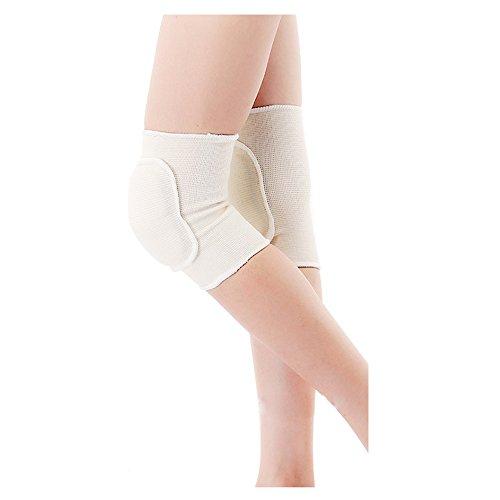 Fletion Genouillères unisexe respirantes résistantes aux chocs anti-dérapantes Supports de genou pour la danse, le volley-ball ou d'autres sports en mousse et coton Taille unique beige