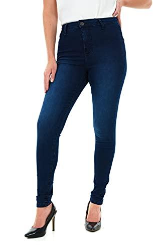 M17 Damskie damskie damskie dżinsy z wysokim stanem skinny Fit codzienne bawełniane spodnie z kieszeniami (16, ciemnoniebieskie spranie)