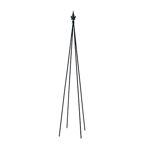 Achla Designs FT-20 Fleur-De-Lis, 58-in Wrought Iron Garden Stake Trellis, H, Black