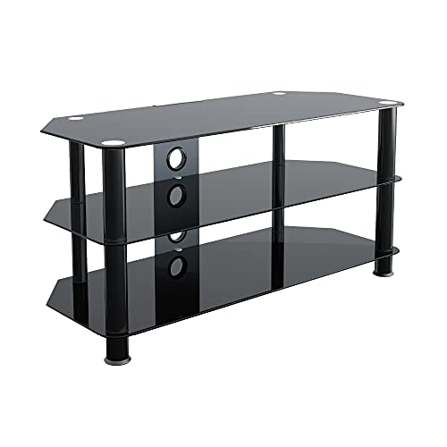 """King Glass TV Stand for HD LED LCD 4K 8K QLED TVs up to 50"""" inch by TV Furniture Direct (100cm, Black Glass, Black Leg)"""
