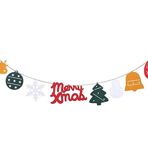 xiaoyu shop Feliz Navidad Banner copo de nieve muñeco de nieve reno Santa banderín guirnalda de pared y puerta colgante decoración de árbol de Navidad adornos hogar fiesta decoraciones