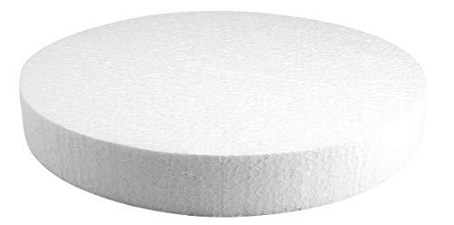 Rayher 3003600 Styropor-Scheibe, 30 cm ø, Höhe 4 cm, ideal als Kuchen-Dummy, Styropor-Torten-Dummy, Styroporscheiben Torte