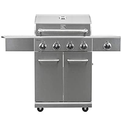 Kenmore PG-40405S0LA-AM 4 Outdoor Patio Propane Grill with Side Burner, Stainless Steel