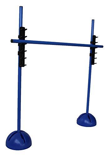 Boje Sport - Sprungstangen-Set - Training für Sprungkraft, Dribbling und Beweglichkeit - Standfüße befüllbar - (3 Stangen (100 cm), 2 X-Standfüße, 2 Leiterhürden), Farbe: blau