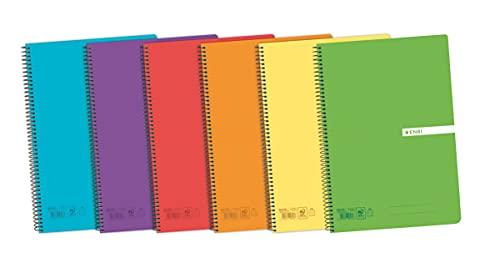 Enri, Cuadernos A4 (Folio) de Rayas, Pack de 5 Libretas, Tapa Plástico, 80 Hojas, Colores Aleatorios