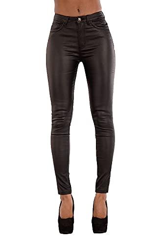 Damen Kunstlederhose Skinny Fit Jeans, Damenhosen, Sexy Damen Hose, Frauen Lederhose Größe 36-44 (44, Schwarz)