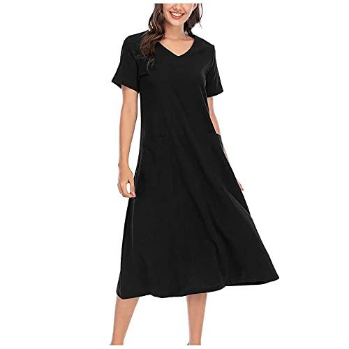 Algodón lino vestido de verano para mujer retro manga corta monocolor con bolsillo para el tiempo libre, cómodo y ligero y elegante vestido suelto suelto, Negro , M-36/38/40