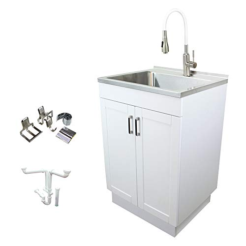 Transolid TCM-2420-WC All-in-One Stainless Steel Utility Sink Kit