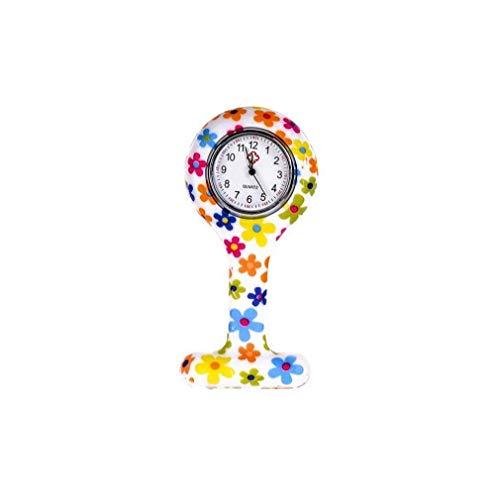 Moda Floral Clip de la Enfermera de Tipo T Fob de la Broche de la Jalea del silicón del Reloj Colgante de Bolsillo de la Solapa del Reloj Mujer Niña 86x41mm (Built-in de la batería)