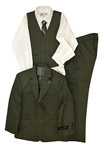 Johnnie Lene Dress Up Boys Designer Suit Set JL5016 (6, Olive Green)