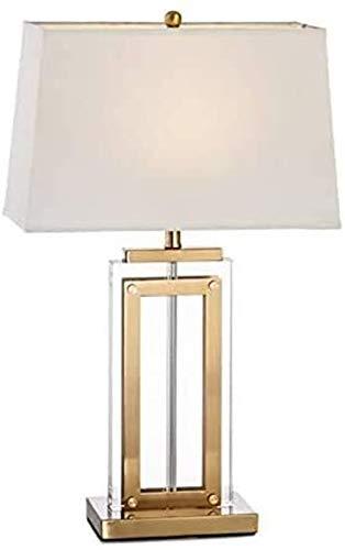Lámpara De Escritorio De Metal Lámpara De Mesa De Cristal Cuadrada Lámpara De Mesa De Diseño Minimalista Lámpara De Mesa De Noche Con Tela De Sombra Para Dormitorio, Estudio, 62 Cm