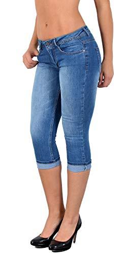 ESRA Damen Capri Jeans Hose Tiefer Bund Caprihose Damen Kurze Jeans Hose extra Tief bis Übergröße J470