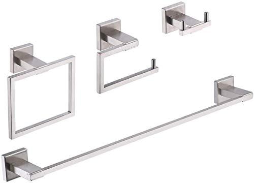 UMI. by Amazon - Juego de 4 piezas de accesorios de baño, toallero, toallero, soporte de pared de acero inoxidable SUS 304, acabado cepillado, LA242-42