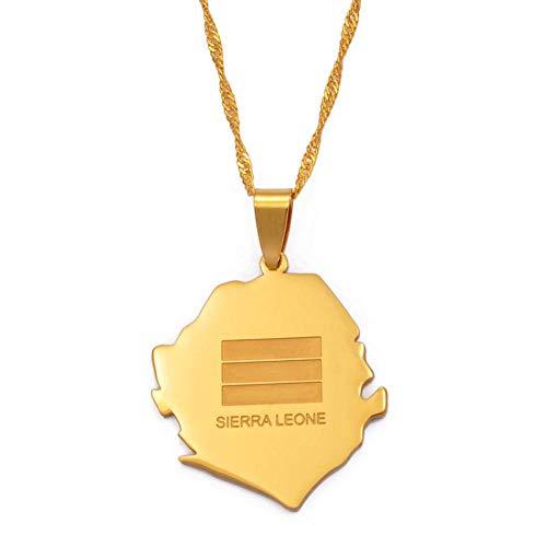 FDDSSYX Collar De Mapa,Creatividad Sierra Leone Mapa Bandera Oro Color Encanto Colgante Collares África País Maps Joyería Mejores Amigos Accesorios Regalo,45Cm Cadena Delgada
