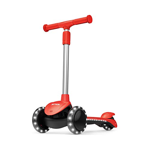 Jetson Lumi 3 Wheel LightUp Kick Scooter  Max Grip Light Up Deck and PVC Wheels Adjustable Height Ages 3 Red