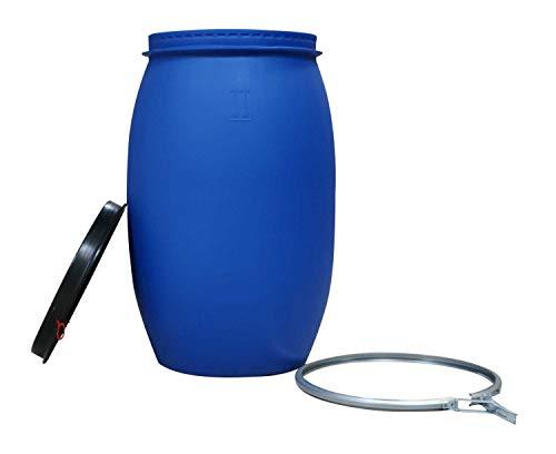 asup Kunststofffass-Deckelfass, 120 Liter - UN-Zulassung inkl. Deckel mit Moosgummi- Dichtung und Spannung, mit Splint und roter Lasche