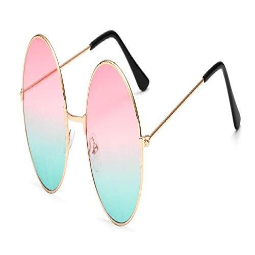Gafas De Sol Polarizadas Gafas De Sol Redondas Vintage para Mujer, Gafas De Sol De Espejo con Lente Roja Grande, Diseño De Marca Femenina, Gafas Circulares con Montura Metálic