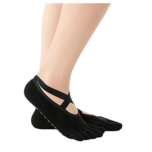 1 Paare Damen Zehensocken Fünfzehensocke Yoga Socken,Funktionssocken-Antirutschsocken-Offene Zehen Sport Ballett Tanzsocken Atmungsaktive URIBAKY