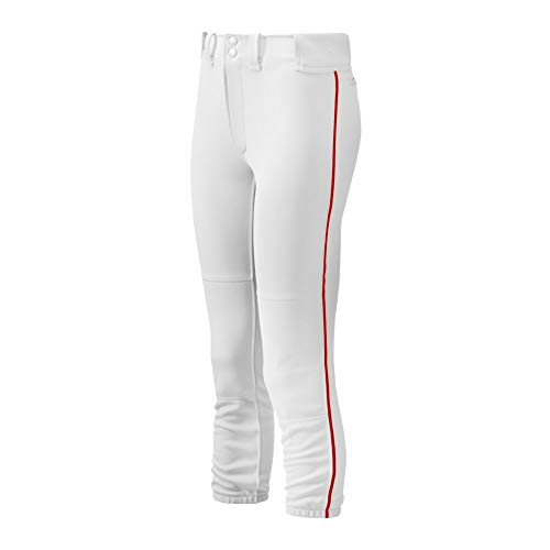 Mizuno Adult Women's Belted Piped Fastpitch Softball Pant, White-Red, Small