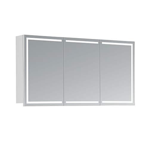 HAPA Design Spiegelschrank Milano weiß mit LED Beleuchtung in Lichtfarbe 4000K, VDE Steckdose, Softclose Funktion und verstellbaren Glas Ablagen. Komplett vormontiert. SGS geprüft. (120 x 60 x 14 cm)
