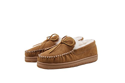 SUPERLAMB Men's Moccasin Sheepskin Slippers (9)