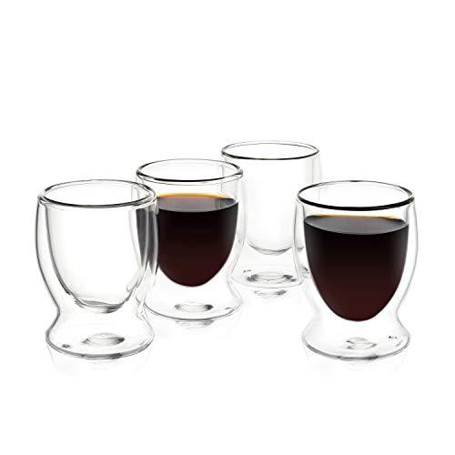 VEVOUK Doppelwandige Espressotassen aus isoliertem Glas, 90 ml, 4 Stück, Latte Cappuccino Demitasse Tassen, Tequila Schnapsglas