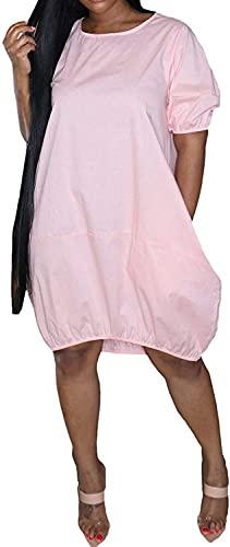 LYDIANZI Vestido para Mujeres Más Talla De Primavera Vestidos De Novia De Verano con Bolsillo para Mujer Switch Switch De Manga Corta Vestidos De Rodilla Media(Size:Grande,Color:Pink-002)