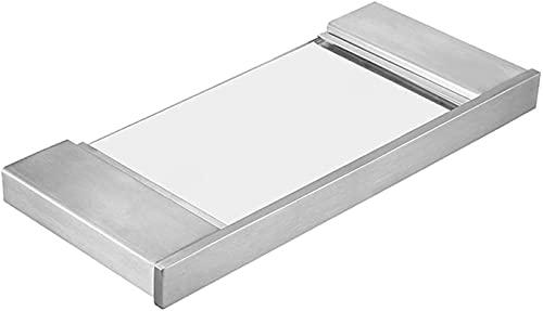 Estante de ducha para baño rectangular de cristal para baño, organizador de baño de acero inoxidable y vidrio, superficie de acabado en oro cepillado (color: dorado, tamaño: 45 x 11 x 2 cm)
