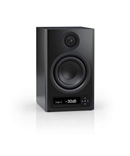 Nubert nuPro X-3000 RC Regallautsprecher | Bluetooth Lautsprecher aptX HD | Lautsprecher Verbindung kabellos High Res | Aktivbox mit 2 Wege Technik | High End Kompaktlautsprecher Schwarz | 1 Stück
