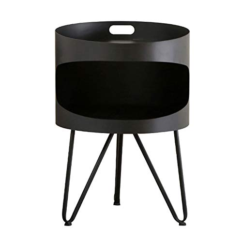 Bedside Tables Round Small Coffee Table Metal Double Layers Storage Display Rack Home Fashion Bedside Cabinet Bedroom Simple Shelf, 40X58CM(Color:black)