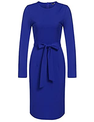 ANGVNS Women Retro Long Sleeve Wear to Work Office Business Pencil Dress with Belt