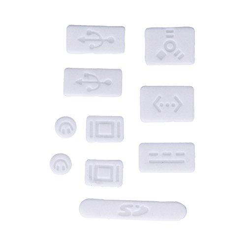 9X Tapones Anti-Polvo para Apple MacBook Pro 13' 15' (Sin Retina), Protector de Puertos en Blanco