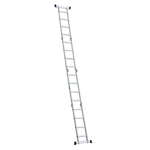 Luisladders Folding Ladder Multi-Purpose Aluminium Extension 7 in 1 Step Heavy Duty Combination EN 131 Standard (15.5 Feet)