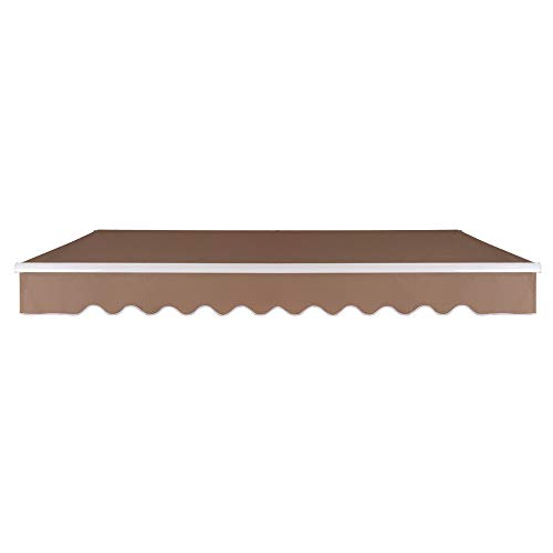 VINGLI 13' x 8' Patio Awning Retractable Sunshade Window Door Shelter Awning Cover Canopy Market Deck Awnings with Aluminum Frame and Manual Crank Handle,Beige