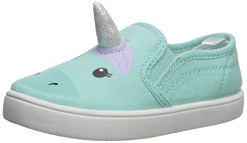 carter's Girls' Tween Casual Slip-on Skate Shoe, Turquoise, 6 M US Toddler