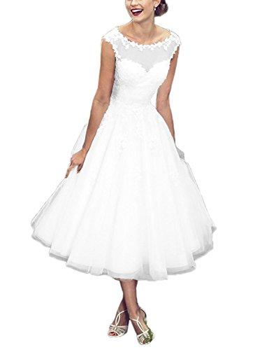 Brautkleid Hochzeitskleider Damen Lang Brautmode Tüll Spitze mit Applikation A Linie Weiß EUR42