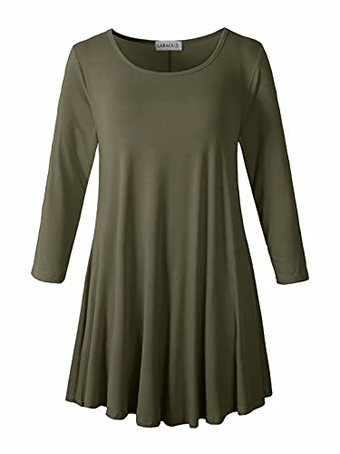 LARACE Women 3/4 Sleeve Tunic Top Loose Fit Flare T-Shirt(1X, Army Green)
