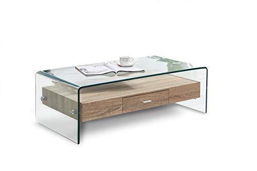 Mesa de centro rectangular de vidrio templado Meubletmoi y gabinete de madera MDF con cajón - Diseño contemporáneo - Ice