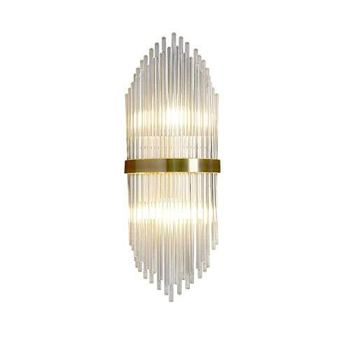 YXLMAONY Lámpara de pared de cobre moderna, pantalla de varilla de vidrio transparente, lámpara de iluminación de metal para interiores E14 de doble cabeza, adecuada para dormitorio, sala de estar, lá