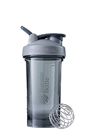 BlenderBottle Pro24 Tritan Trinkflasche mit BlenderBall, optimal geeignet als Eiweiß Shaker, Protein Shaker, Wasserflasche, BPA frei, skaliert bis 500 ml, Fassungsvermögen 710 ml, pebble grau