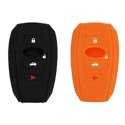 Auovo Key Fob Keyless Entry Remote Cover Case Accessories for Subaru Crosstrek Impreza Legacy Outback Forester WRX STI Ascent BRZ 4 Buttons Silicone (Black Orange)