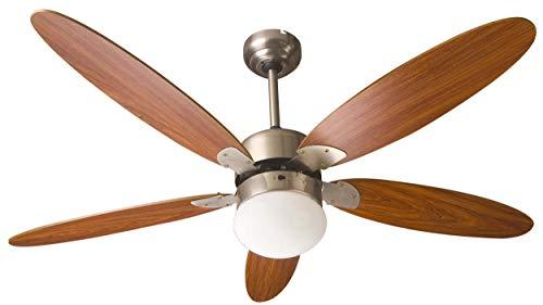TOO FANC-130-334-WOOD - Ventilador de techo con luz y cinco aspas de madera, intensidad regulable, diámetro: 130 cm