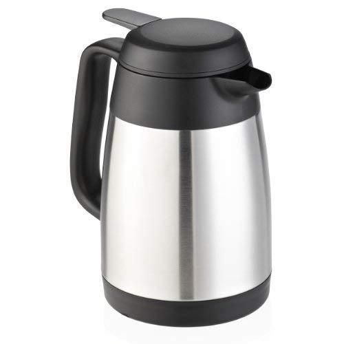 Leifheit Style 1, 0 L Isolierkanne, 100% dicht, Thermoskanne mit doppelwandigem Edelstahl-Isolierkörper, praktisches Öffnen und Schließen mit einer Hand, Kaffekanne, Teekanne, silber schwarz