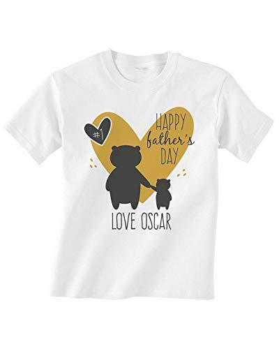 Shatel Clothing Happy Fathers Day Bear - Camiseta personalizada para bebé, diseño de oso