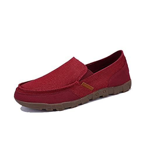 Mocasines de Hombre de Color sólido Patchwork Slip-On Low-Top Casual Zapatos Planos Antideslizantes Zapatos de Lona Retro duraderos