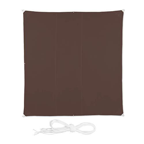 Relaxdays, Marrone Tenda a Vela Quadrata, Idrorepellente, Anti UV, con Corde di Supporto, Terrazza, Giardino, LxP: 4x4 m, 4 x 4 m