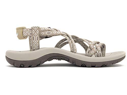 Viakix Siena Womens Walking Sandals, Beige, US 7