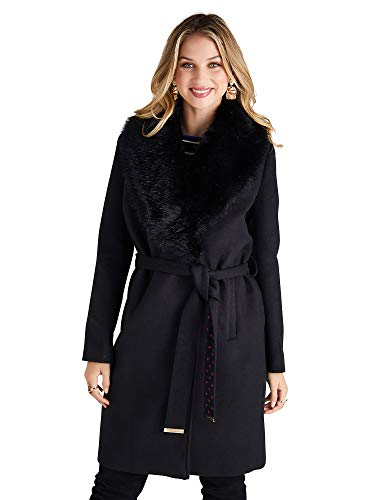 YUMI Fur Wrap Coat with Contrast Spot Lining